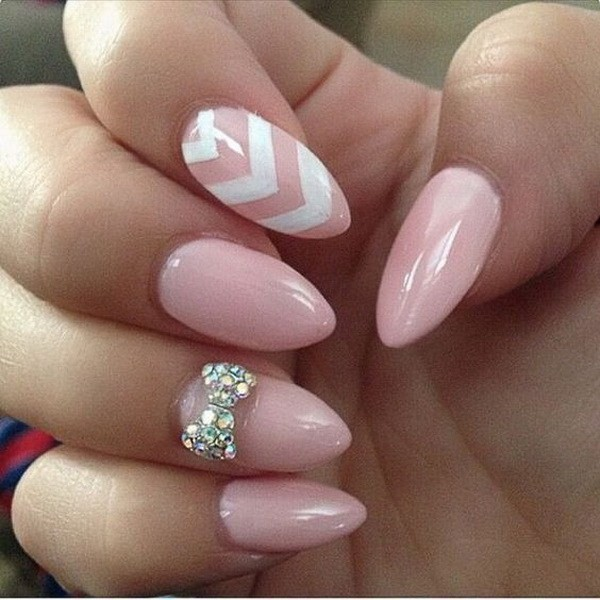 Alysa Queen Baby-Pink-Almond-Nails-With-A-Studded-Bow-And-White-Chevron-Lines