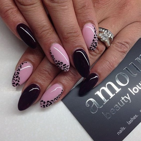Alysa Queen Baby-Pink-And-Black-Almond-Nails-With-Animal-Prints-For-Accent