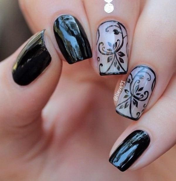 Black-And-Nude-Floral-Nail-Art-Design Elegant Black Nail Art Designs