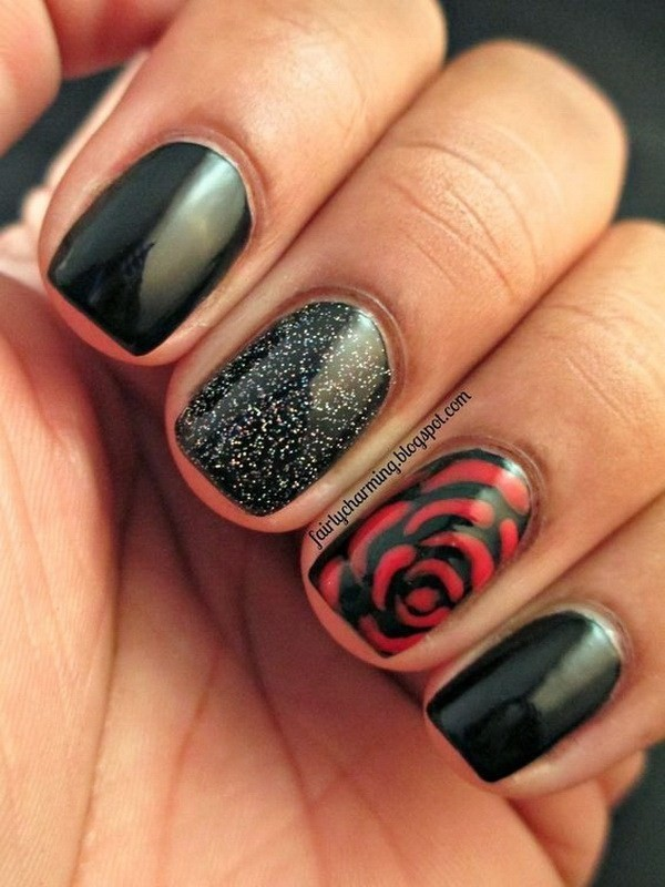 Black-And-Red-Rose-Floral-Nails Elegant Black Nail Art Designs