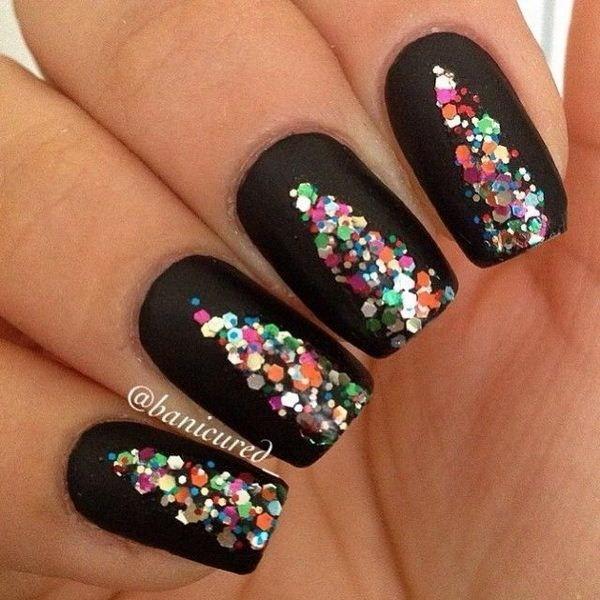 Black-Background-Nails-With-Colorful-Sequins Elegant Black Nail Art Designs