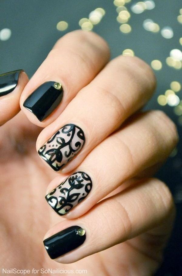Black-Colored-Floral-Nails Elegant Black Nail Art Designs