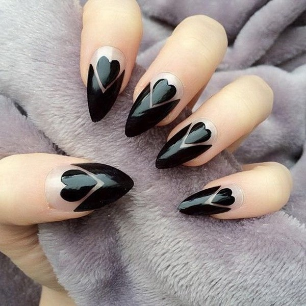 Black-Hearts-And-Negative-Space-Stiletto-Nails Elegant Black Nail Art Designs