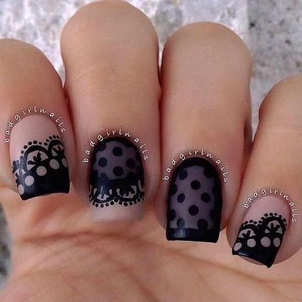 Black-Lace-And-Dots-Nail-Design Elegant Black Nail Art Designs