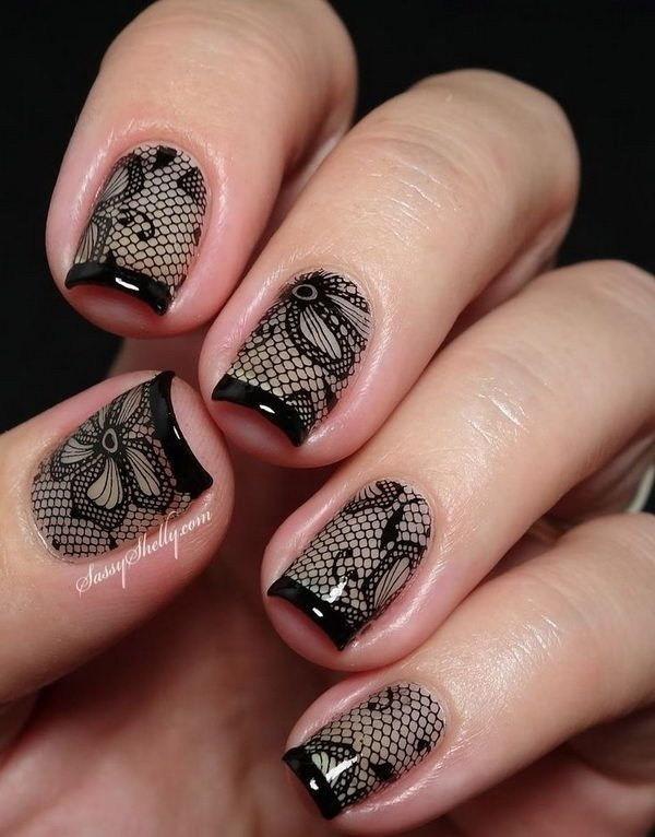 Black-Lace-Nail-Art-Design-With-French-Tips Elegant Black Nail Art Designs
