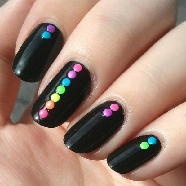 Black-Nails-With-Neon-Dots-On-Top Elegant Black Nail Art Designs