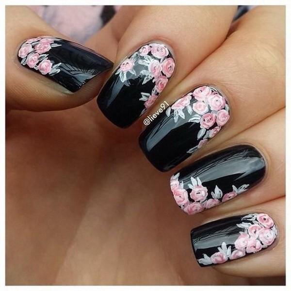 Black-Nails-With-Pink-Flowers-Nail-Art Elegant Black Nail Art Designs