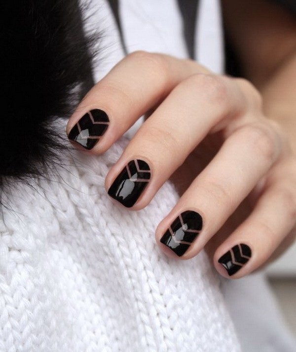 Black-Negative-Space-Nail-Design-With-Striping-Tapes Elegant Black Nail Art Designs