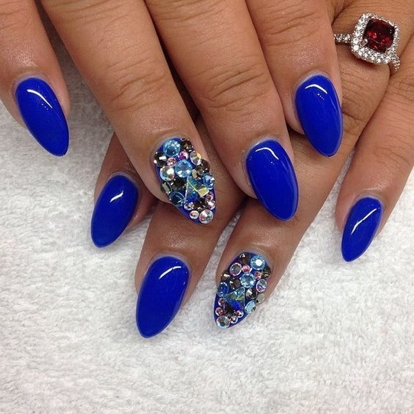 Alysa Queen Blue-Almond-Shaped-Nails-With-Gems-Accents
