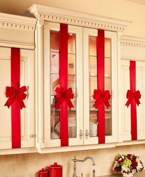 Cabinet-Bows Elegant Christmas Decorating Ideas