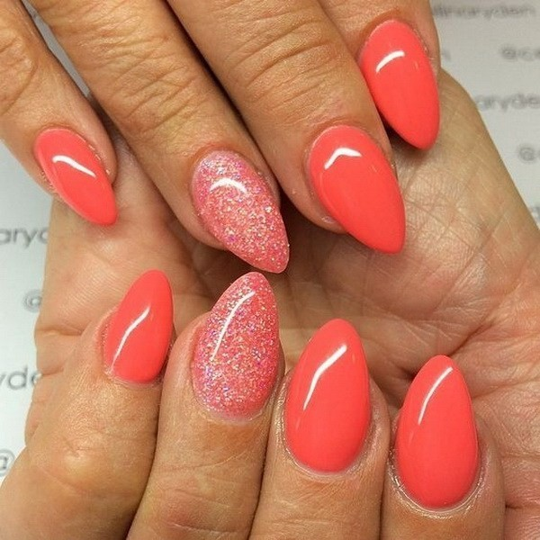 Alysa Queen Coral-Glitter-Almond-Shaped-Nail-Art-Design