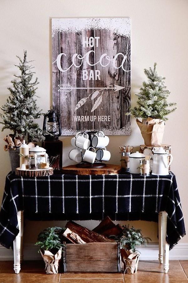Farmhouse-Hot-Cocoa-Bar Elegant Christmas Decorating Ideas