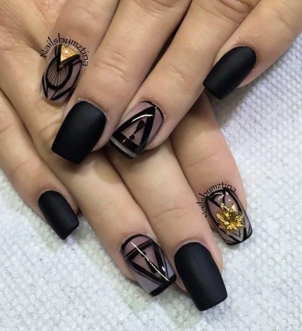 Matte-Black-And-Tribal-Inspired-Nail-Art Elegant Black Nail Art Designs