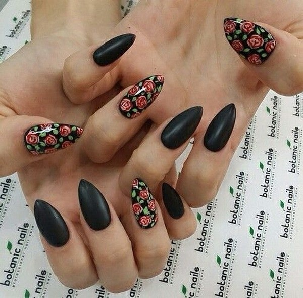 Alysa Queen Matte-Black-Floral-Nails-In-Almond-Shape
