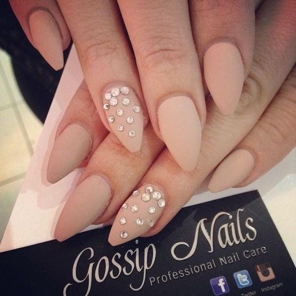 Matte-Studded-Almond-Nail-Design Beautiful Almond Nail Designs