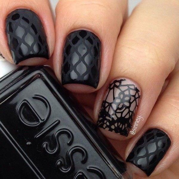 Patterned-Black-Nail-Design Elegant Black Nail Art Designs