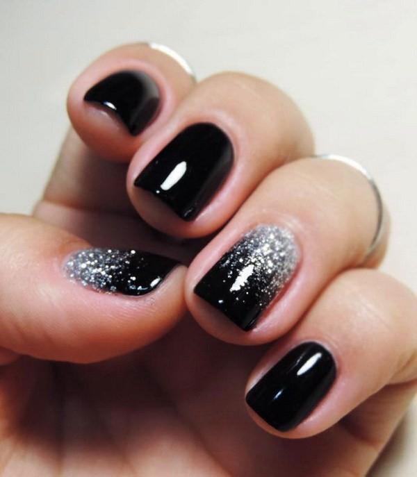 Silver-Glitter-On-Black-Nails Elegant Black Nail Art Designs