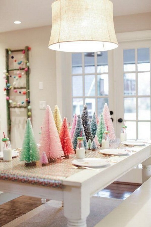 Whimsical-Christmas-Tablescapes-And-Centerpieces-With-Colorful-Bottle-Brush-Trees Elegant Christmas Decorating Ideas