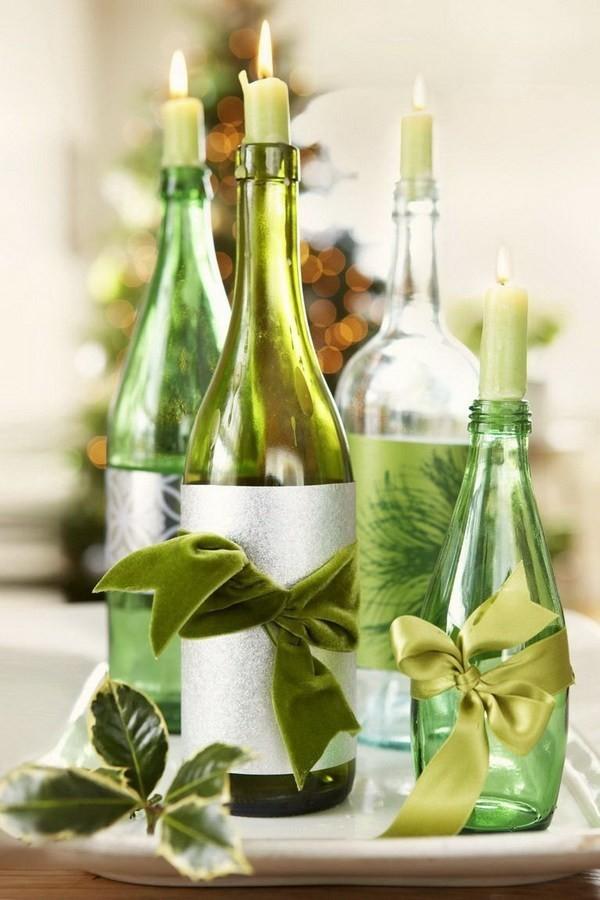 Wine-Bottles-Candle-Holder Elegant Christmas Decorating Ideas