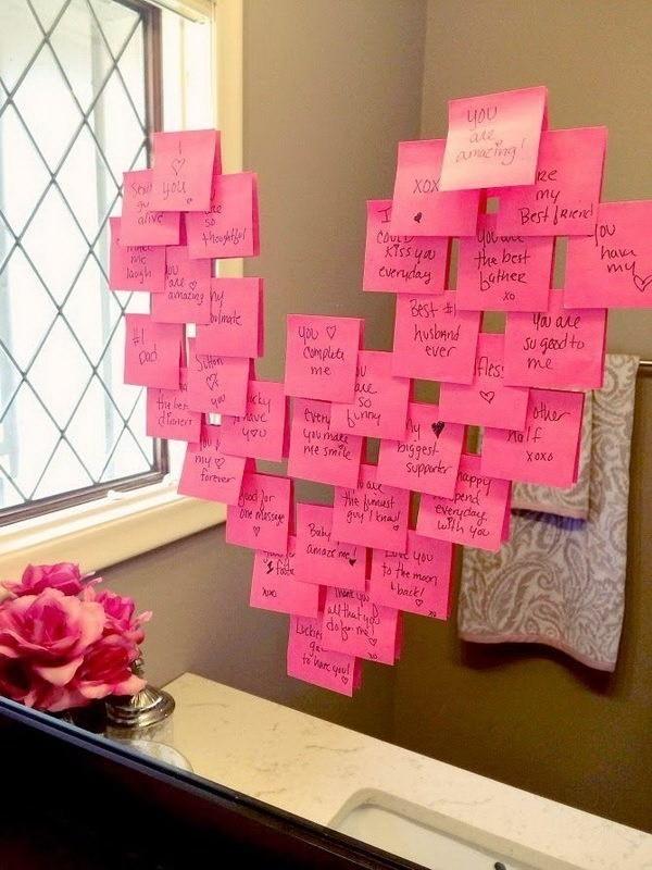 Bathroom-Mirror-Love-Notes Sweet DIY Valentine's Day Decoration Ideas