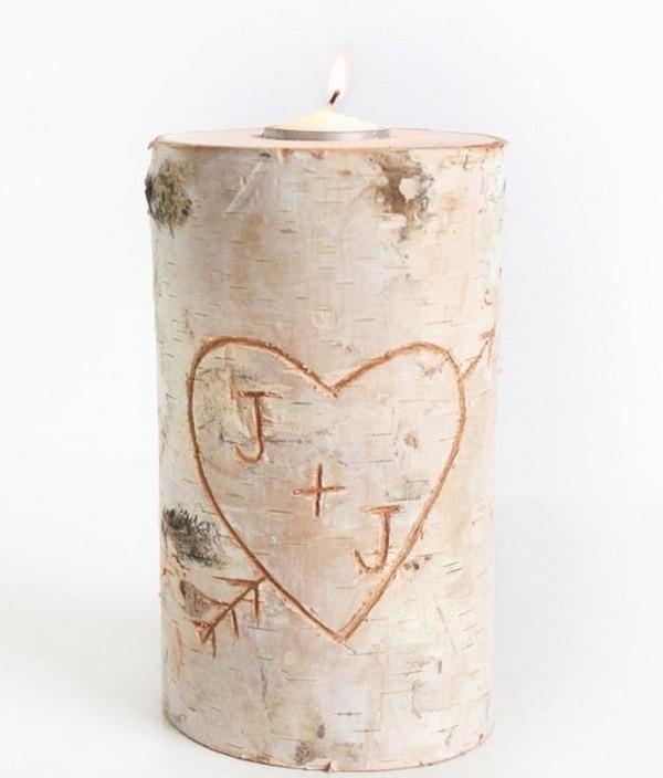 Birch-Pillar-DIY-Candle-Holder Sweet DIY Valentine's Day Decoration Ideas