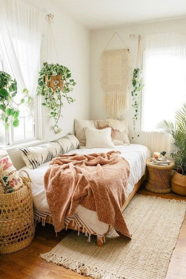 Bohemian-bedroom-with-potted-houseplants Chic Bohemian Interior Design Ideas
