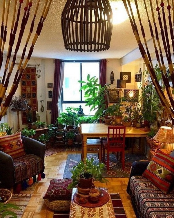 Bohemian-style-home-decor-with-lush-of-greenary Chic Bohemian Interior Design Ideas