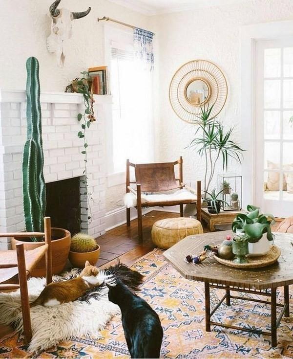 Boho-inspired-living-room Chic Bohemian Interior Design Ideas