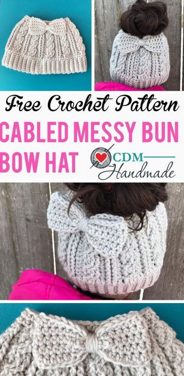 Cabled-Messy-Bun-Bow-Hat Easy Crochet Patterns And Projects For Beginners