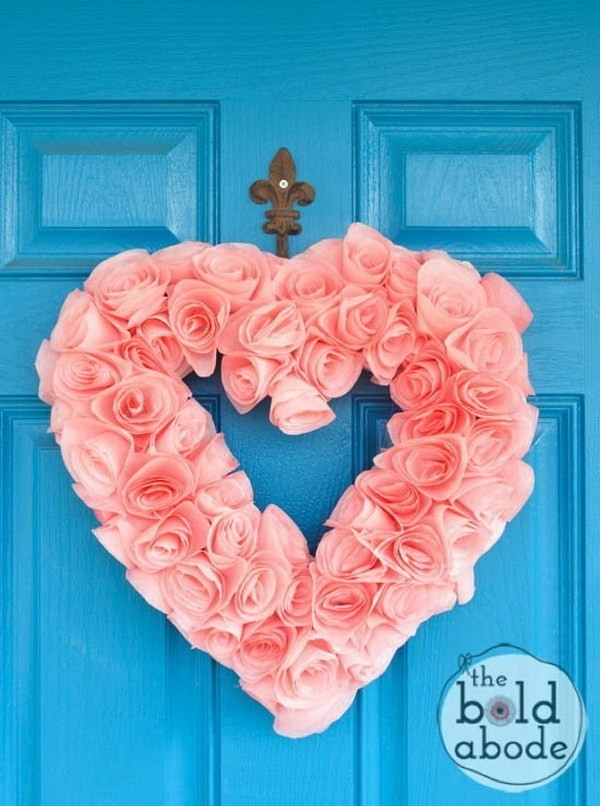 Coffee-Filter-Heart-Wreath Sweet DIY Valentine's Day Decoration Ideas
