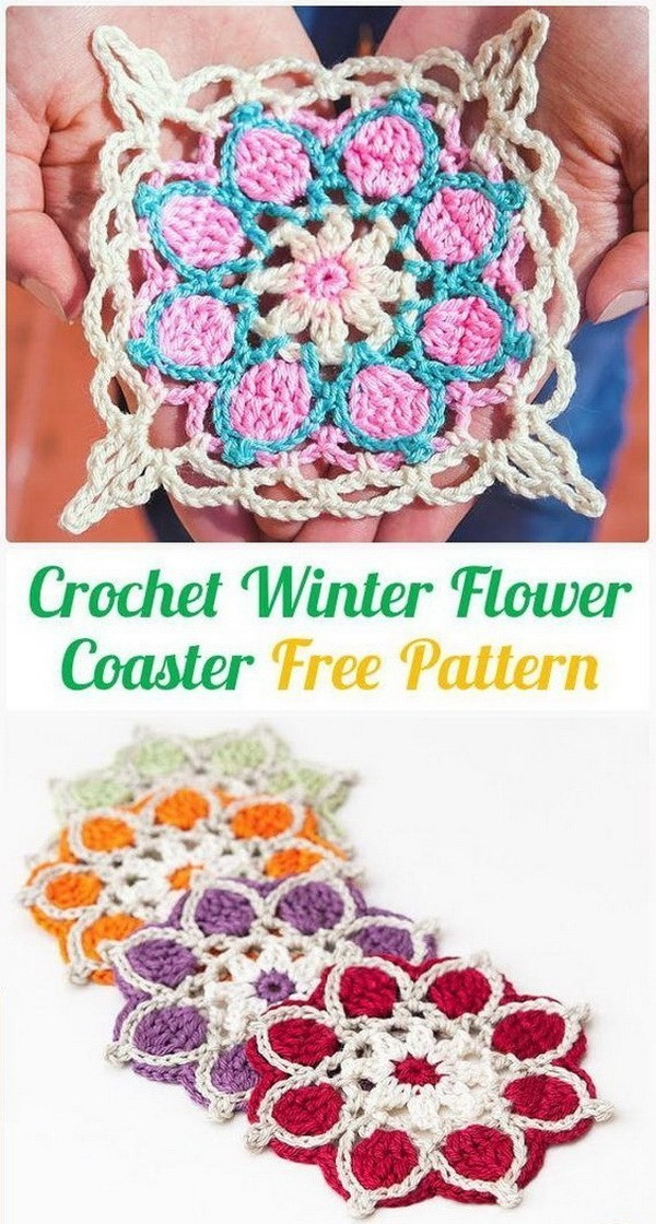 Crochet-Winter-Flowers-Coasters Easy Crochet Patterns And Projects For Beginners