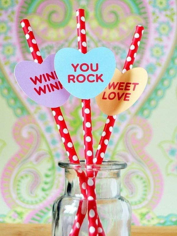 Cute-Conversation-Candy-Heart-Straws Sweet DIY Valentine's Day Decoration Ideas