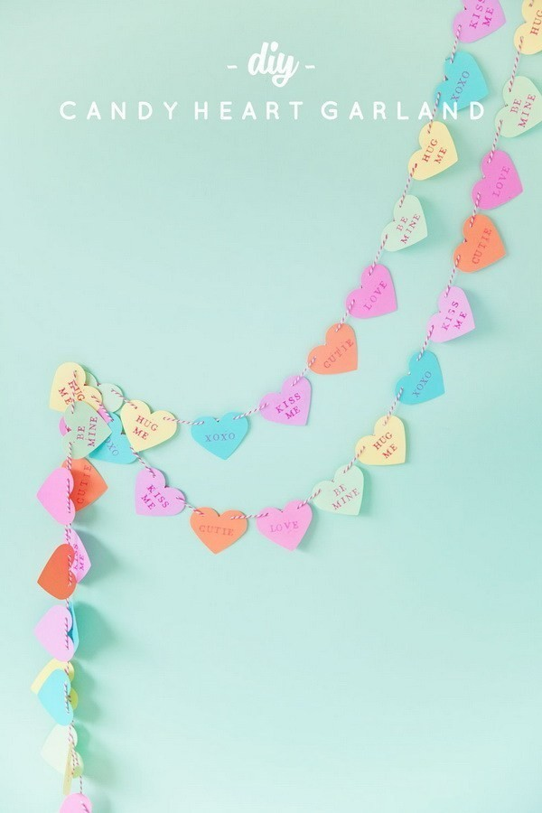 DIY-Candy-Heart-Garland Sweet DIY Valentine's Day Decoration Ideas