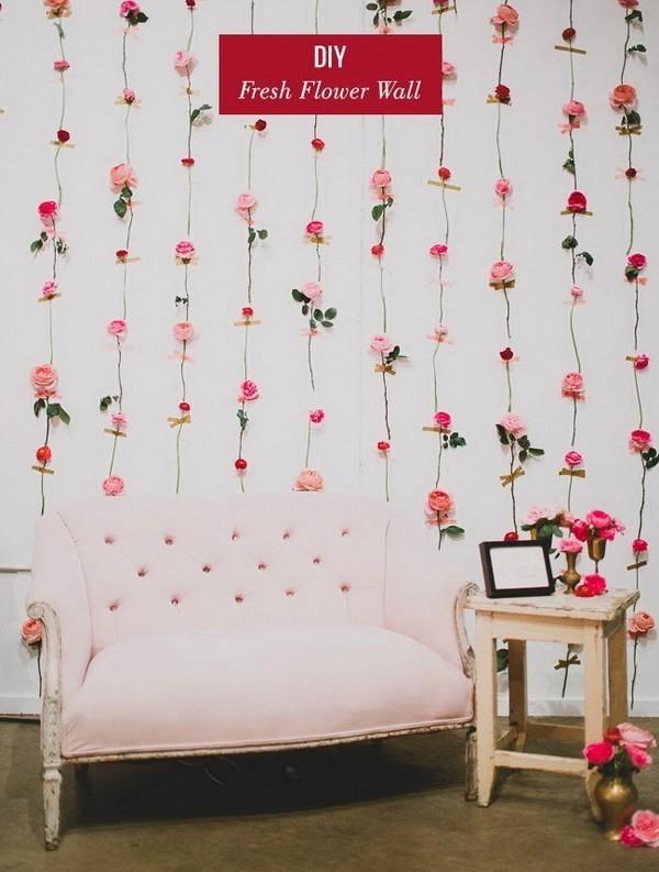 DIY-Fresh-Flower-Wall Sweet DIY Valentine's Day Decoration Ideas