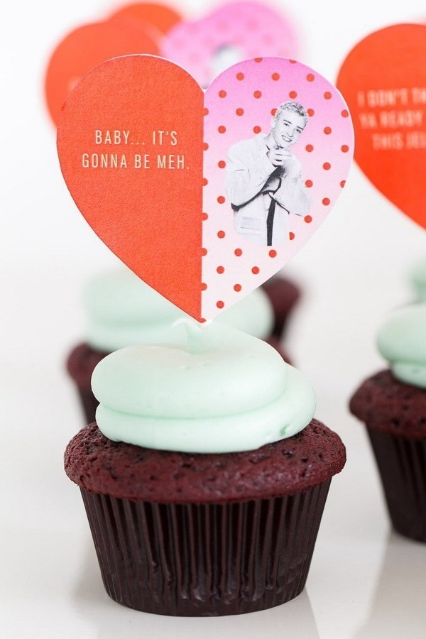 DIY-Pop-Culture-Song-Lyric-Cupcake-Toppers Sweet DIY Valentine's Day Decoration Ideas