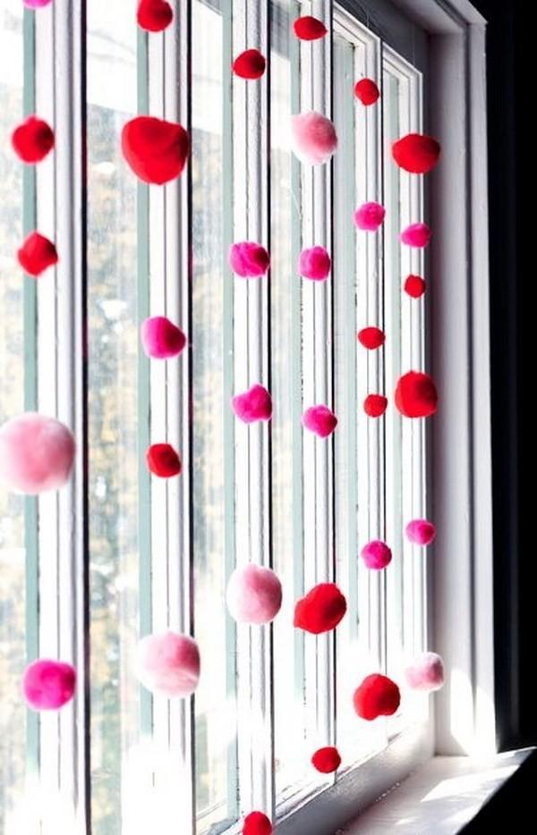 DIY-Valentine-Pom-Pom-Decor Sweet DIY Valentine's Day Decoration Ideas