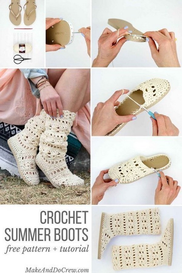 Free-Crochet-Boots-Pattern-With-Flip-Flop-Soles Easy Crochet Patterns And Projects For Beginners