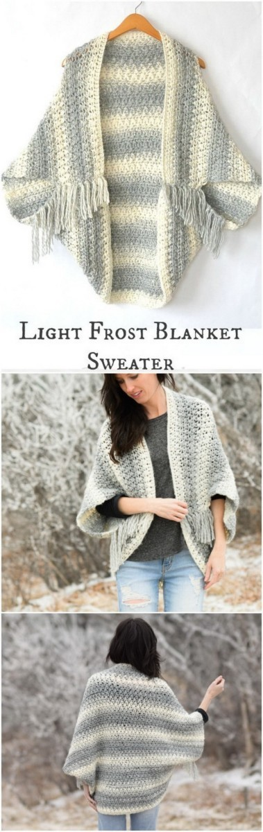 Light-Frost-Easy-Crochet-Blanket-Sweater Easy Crochet Patterns And Projects For Beginners
