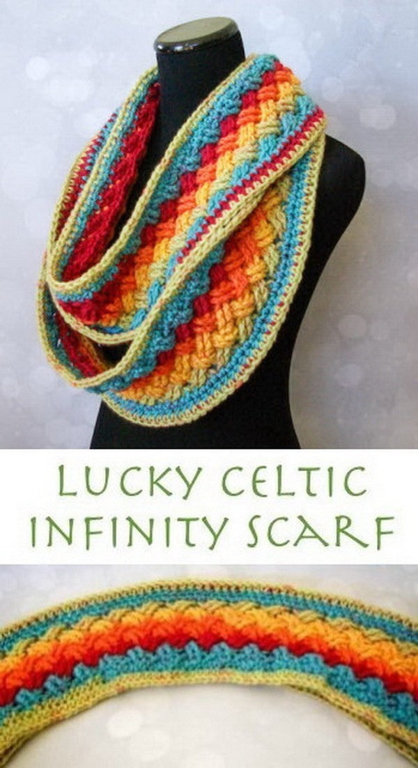Lucky-Celtic-Infinity-Scarf Easy Crochet Patterns And Projects For Beginners