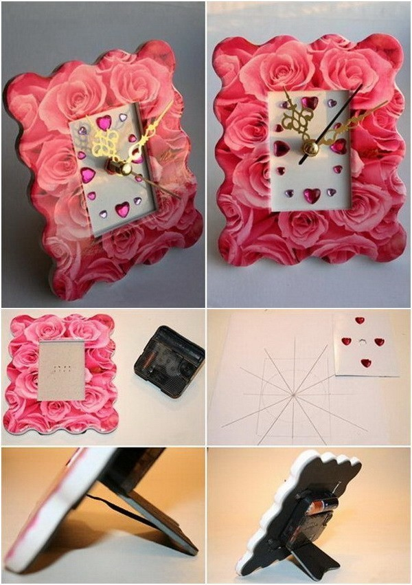 Roses-Pattern-Photo-Frame Sweet DIY Valentine's Day Decoration Ideas
