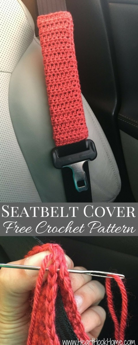 Seatbelt-Cover-Free-Crochet-Pattern Easy Crochet Patterns And Projects For Beginners