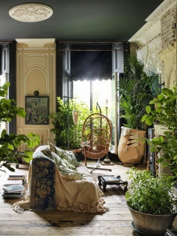 Urban-jungle-interior-design-full-of-fresh-plants Chic Bohemian Interior Design Ideas