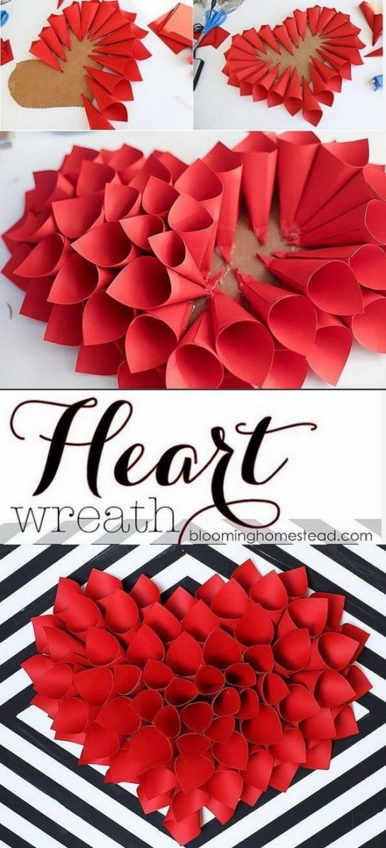 Valentine's-Day-Wreath Sweet DIY Valentine's Day Decoration Ideas