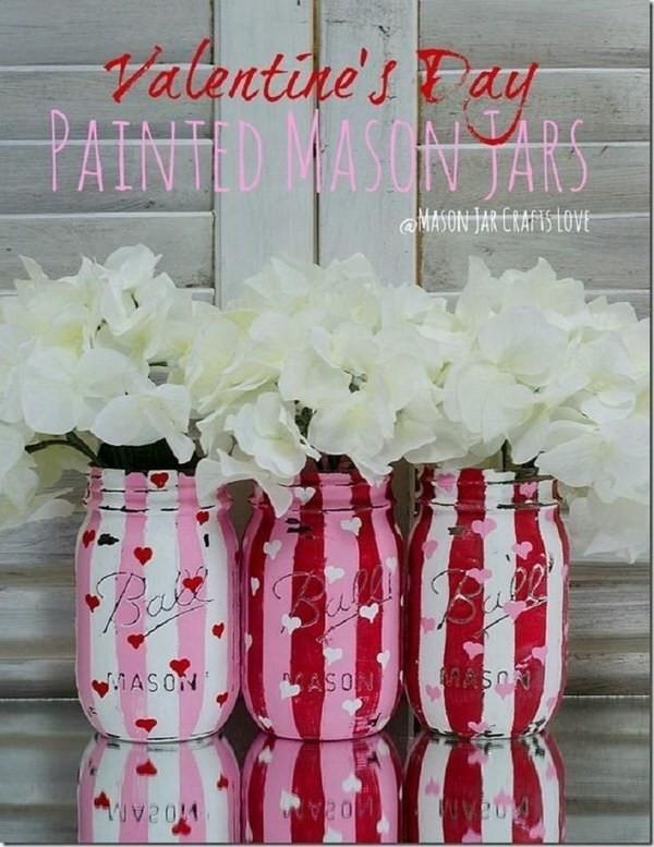 Valentine-Painted-And-Distressed-Heart-Mason-Jars Sweet DIY Valentine's Day Decoration Ideas