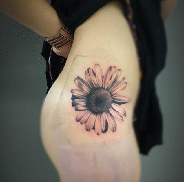 A-Hip-Piece—Sunflower-Tattoos Amazing Sunflower Tattoo Ideas