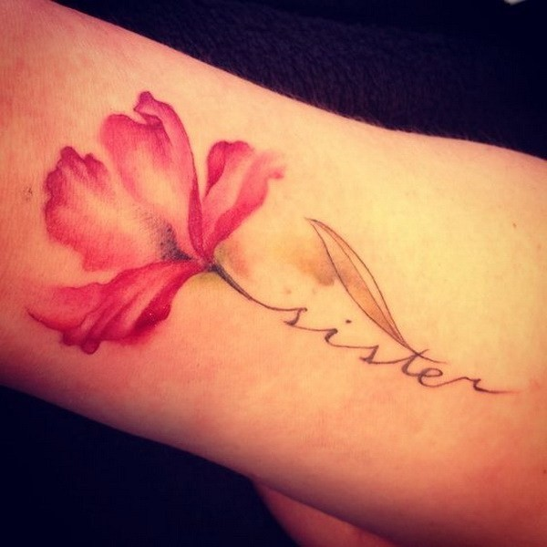 A-Piece-Of-Red-Flower-On-Arm Pretty Flower Tattoo Ideas