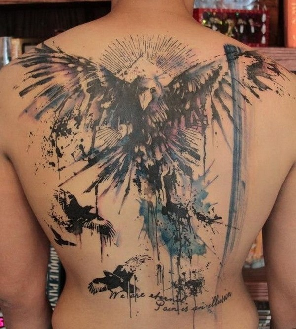 Abstract-Angel-And-Crows-Back-Tattoo 60 Awesome Back Tattoo Ideas