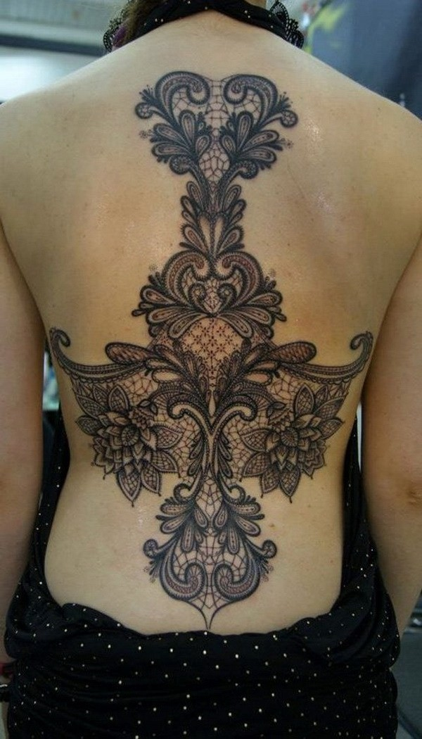 Amazing-Lace-Back-Tattoo 60 Awesome Back Tattoo Ideas