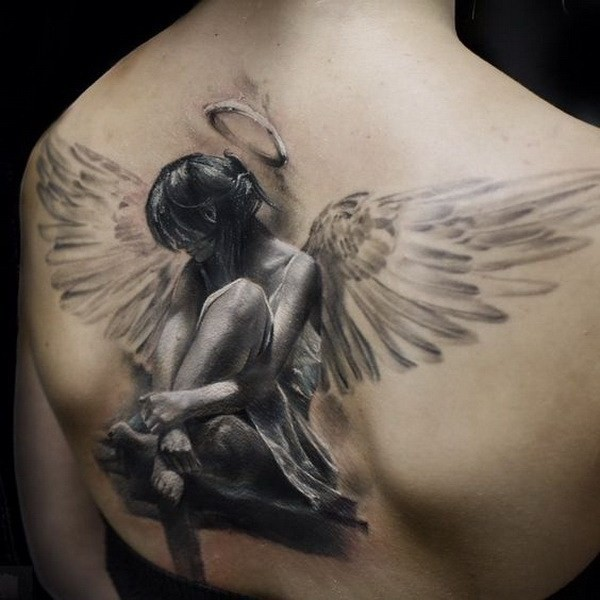 Amazing-Realistic-Angel-Tattoo-On-Back 60 Awesome Back Tattoo Ideas