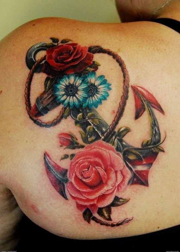 Anchor-And-Flowers-Tattoo-On-Back 60 Awesome Back Tattoo Ideas